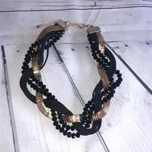 Gold & Black Beaded Twisted Statement Necklace